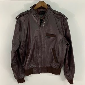 Vintage Members Only Full Zip Leather Jacket